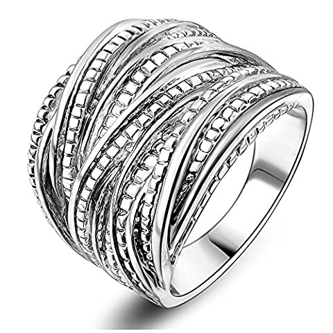 Mytys Rhodium Plated Intertwined Design Right Hand Ring 17.5mm (9) (Rings Cheap Silver)