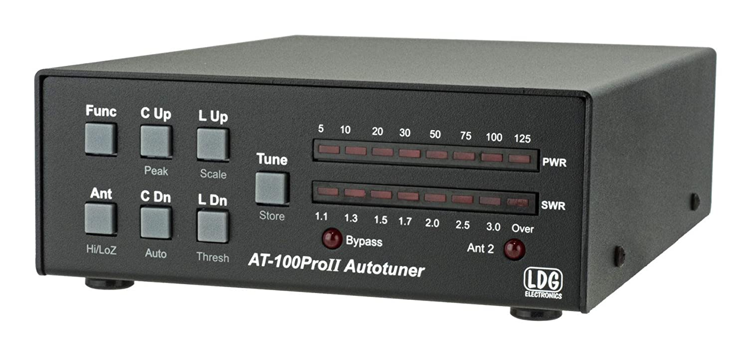 LDG Electronics AT-100PROII Automatic Antenna Tuner 1 8-54 MHz, 1-125  Watts, Updated features include an LED indicator for antenna selection and  an