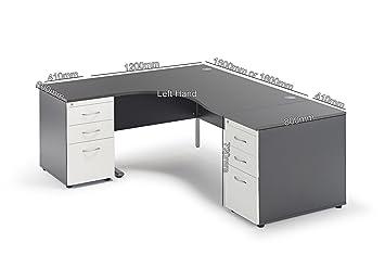 Merveilleux Curved Graphite Grey Cantilever Office Desk And 2 Desk High Pedestals Bundle