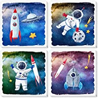 Texture of Dreams Cartoon Astronaut Rocket Stars UFO in Outer Space Travel Canvas Wall Art, Boy Room Science Theme Nursery Wall Decor Poster Kid Bedroom Playroom Dorm Classroom 4 Pack
