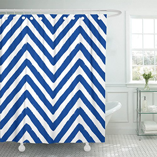 Navy Blue Chalk Stripe - VaryHome Shower Curtain Chevron Grunge Geometric for Furniture Zigzag Unusual From Brush Strokes Navy Blue and White Waterproof Polyester Fabric 60 x 72 Inches Set with Hooks