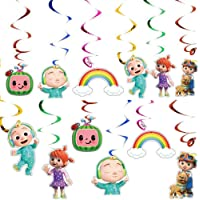 12PCS Hanging Swirls Ceiling Streamers Decorations for Cocomelon Theme Birthday Party Supplies Decoration Favors for…