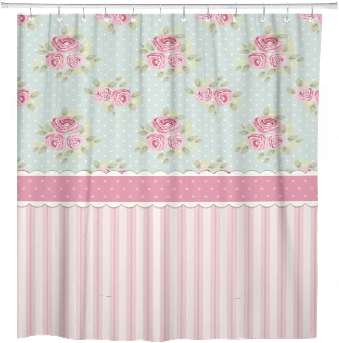 ArtSocket Shower Curtain Colorful Cute Shabby Chic Roses and Polka Dots Home Bathroom Decor Polyester Fabric Waterproof 72 x 72 Inches Set with Hooks