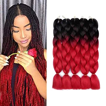 Aidusa Ombre Braiding Hair 5pcs Synthetic Afro Braiding Hair Extensions 24 Inch 2 Tone For Women Hair Twist Crochet Braids 100g 01 Black To Red Beauty