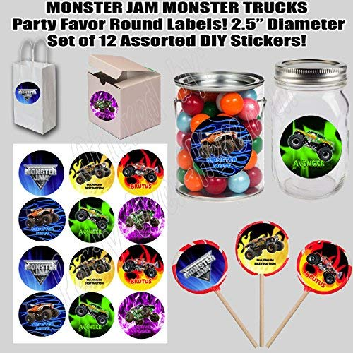 "Monster Jam Monster Trucks, Large 2.5"" Round Circle Stickers to place onto Party Favor Bags, Cards, Boxes or Containers -12 pcs Maximum Destruction Brutus Avenger Monster Mutt Grave Digger"