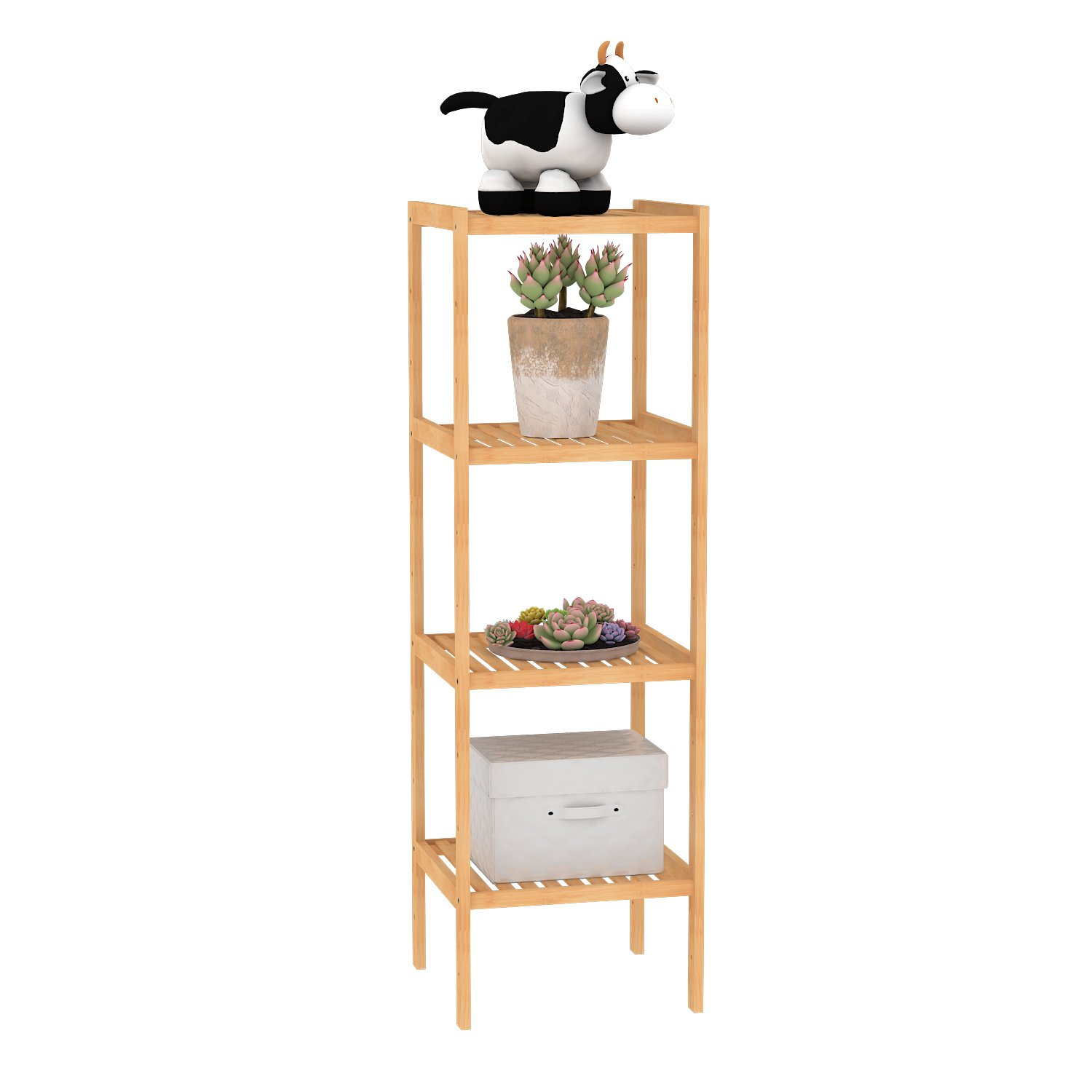 LIMAM Bamboo Shelf Bathroom Rack Plant Display Stand Storage Rack Shelving Wood Bookcase Shelf (33cm 4 tier)