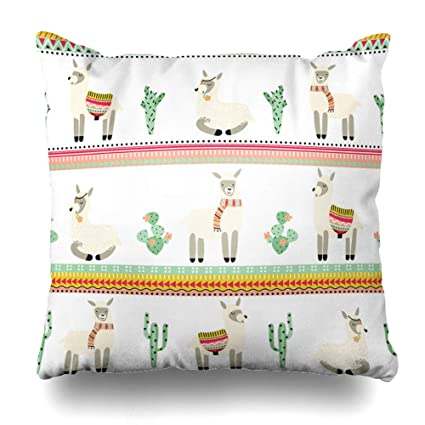 Amazon.com: DIYCow Throw Pillows Covers Llama Lama Cactus ...