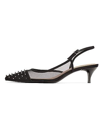 6420d111603 Zara Women Studded mesh Kitten Heel Slingback Shoes 3216 001 Black ...