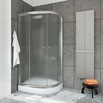 Alta calidad 90x90cm esquina doble puerta de la cabina de ducha ovalada altura 185cm recinto satén: Amazon.es: Bricolaje y herramientas
