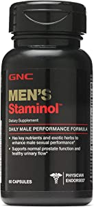 GNC Men's Staminol, 60 Capsules, Supports Normal Prostate Function and Healthy Urinary Flow