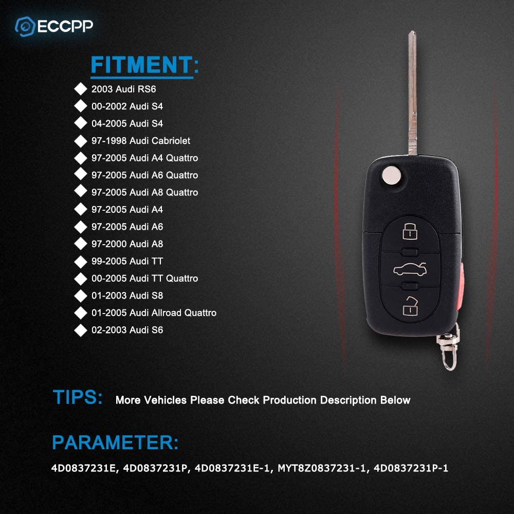 Car Key Fob Keyless Entry Remote For 1999 2000 2001 2002 2003 2004 2005 Audi TT