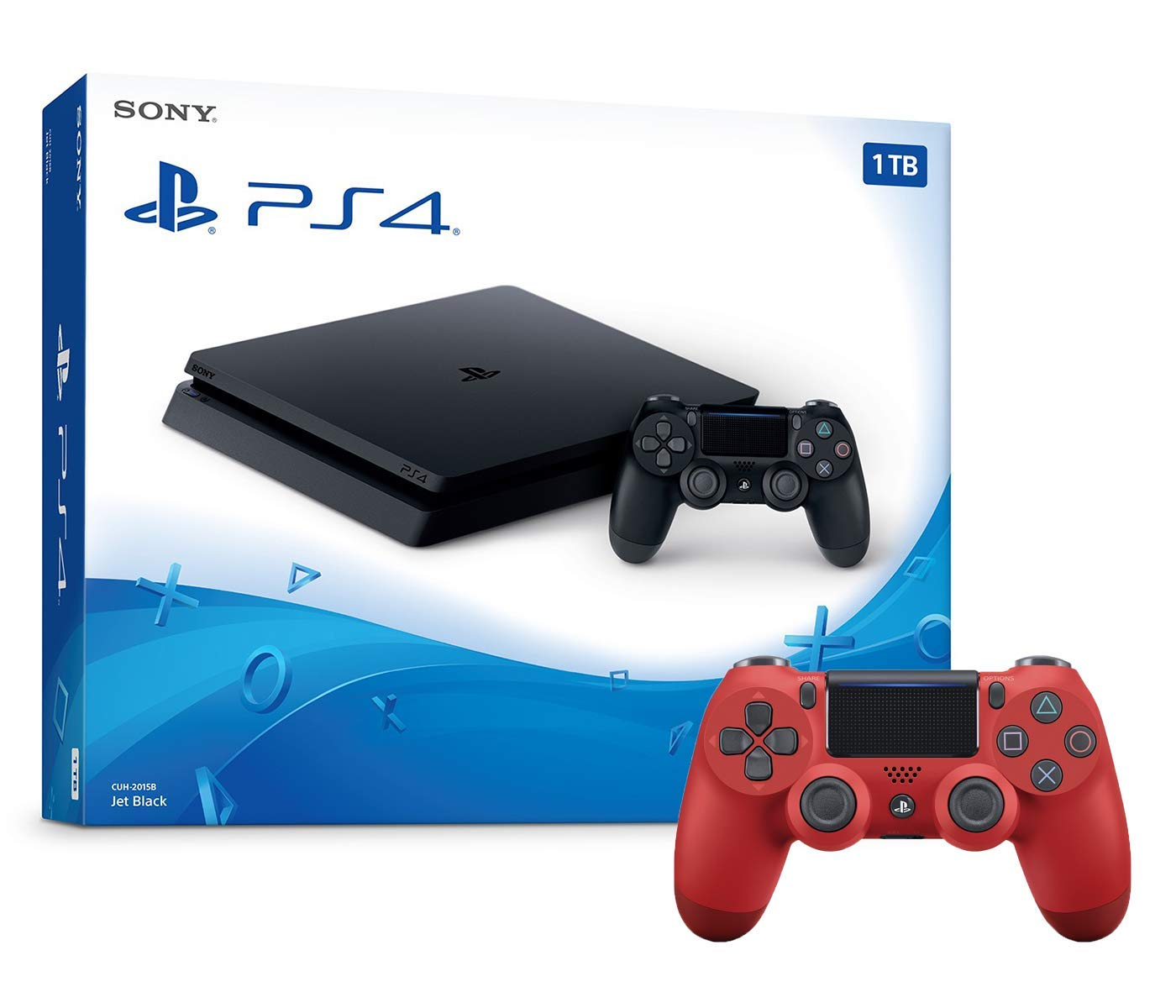 Playstation 4 1TB Slim Console and Extra Red Dualshock 4 Wireless Controller Bundle
