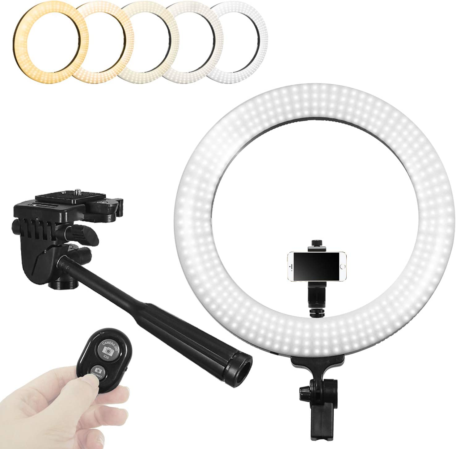 AGG2850 Limo Studio 18 inch Multi-Tone Ring Light with Cellphone Tripod Adapter Wireless Bluetooth Camera Shutter LED Dual Color Dimmable Continuous Lighting for Beauty Facial Shoot