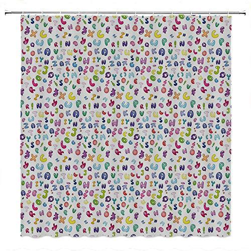 SATVSHOP Shower-Curtain-Colorful-Bold-Design-with-Reinforced-Buttonholes-Kids-Cute-Colorful-Alphabet-ABC-Bubble-Letters-Doodle-Style-Fun-Childish-Nursery-Dign-.W54-x-L72-inch