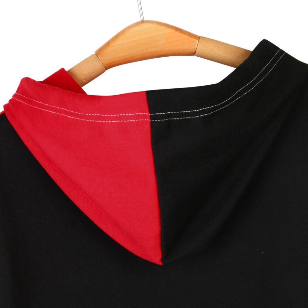 Mujer Divertido Mosaico Cara de Manga Larga Sudadera con Capucha Patchwork Blusa Tops Jersey by Venmo Rojo, S -Busto:100CM//39.4