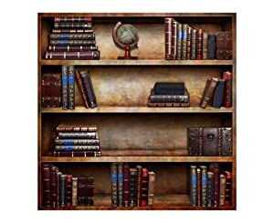 Laeacco 8x8ft Vinyl Backdrop Old Books Bookshelf Photography Background Texture Ancient Style Globe on Bookcase Background Room Wall Decoration Students Adult Art Photo Shoot Portrait TV Video