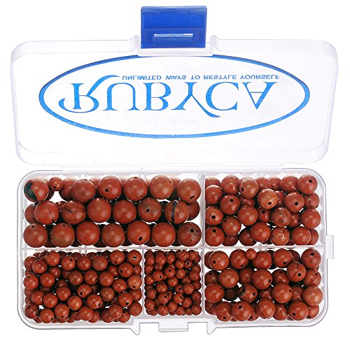 RUBYCA Natural Red Jasper Gemstone Round Loose Bead Organizer Plastic Box Jewelry Making Mix Sizes ()