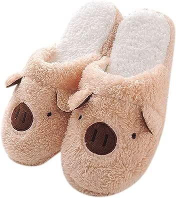 Zapatillas para Mujer Invierno Confort Memoria Espuma Cerdo Oso Dibujos Animados Zapatillas de Interior