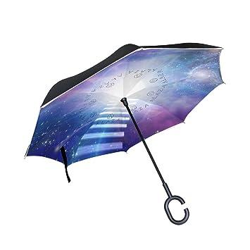 bennigiry resistente al viento de huellas de gatos Reverse plegable doble capa paraguas invertido con manos