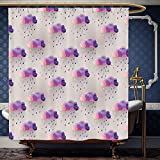 Pink and Purple Polka Dot Shower Curtain Wanranhome Custom-made shower curtain GeometricRetro Decor Triangle Pattern Geometric Art Mosaic Rain Drops on Polka Dots Purple Grey Pink For Bathroom Decoration 40 x 72 inches