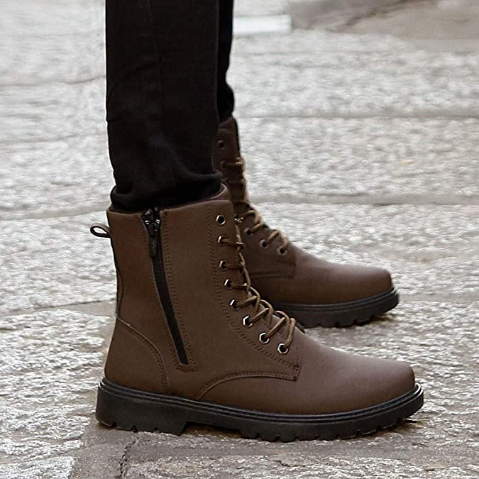 Amazon.com | Danhjin Mens Boots Adult Retro Martin Boots Desert Military Boots PU Leather High to Help Ankle Boots Fighting Snow Boots | Fashion Sneakers