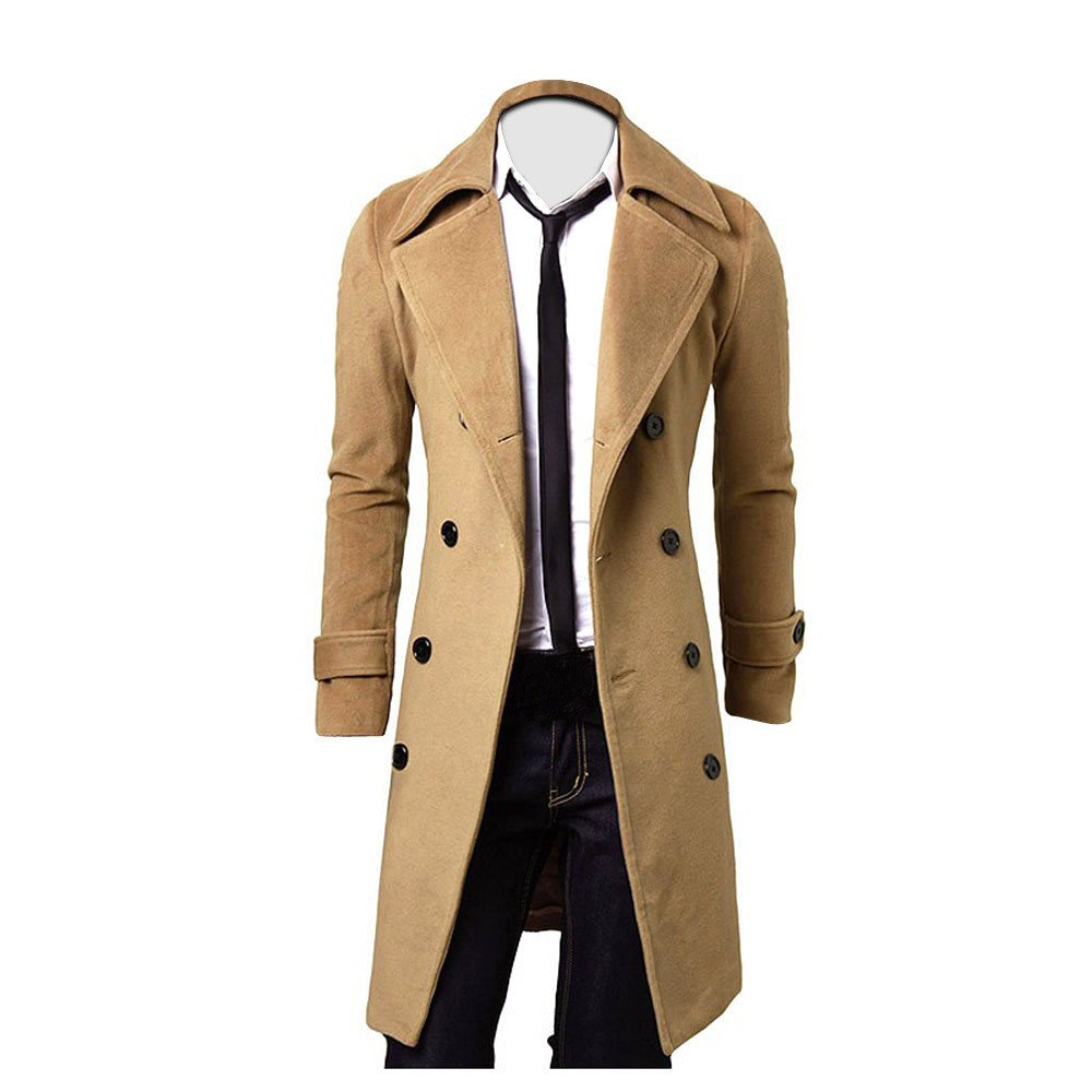 Charberry Clothes for Men Double-Breasted Windbreaker Woolen Coat Slim Stylish Trench Coat Long Jacket Parka