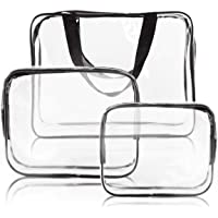 3Pcs Clear Cosmetic Bag Vinyl Air Travel Toiletry Bags Bulk, Water Resistant PVC Packing Cubes with Zipper Closure…