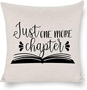 N/ A Just One More Chapter Pillow Cover Linen,Learning Quote Saying Words Throw Pillow Case Cushion Cover for Sofa Couch, Decorative Pillowcase Rustc Farmhouse Homelju2p4v5l8rt