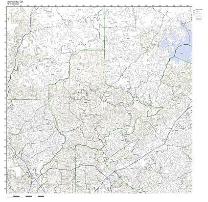 Map Of Georgia Zip Codes.Amazon Com Alpharetta Ga Zip Code Map Laminated Home Kitchen