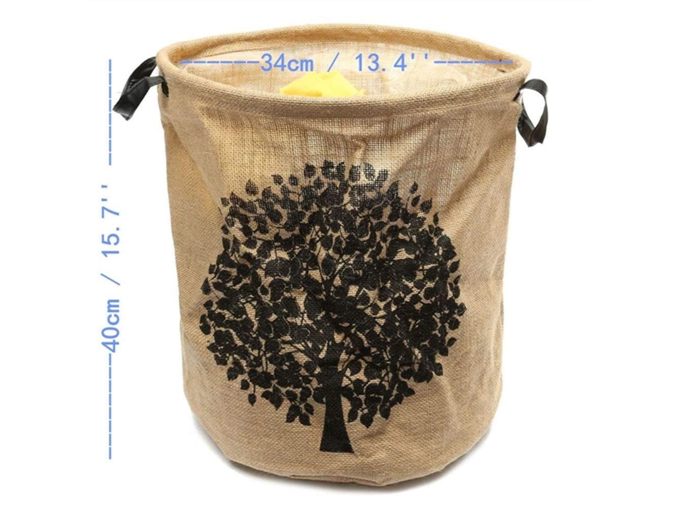 Storage Box Tree Pattern Tote Storage Basket Storage Bag Cotton and Linen Storage Box Sundries Storage Bucket(Light Brown)