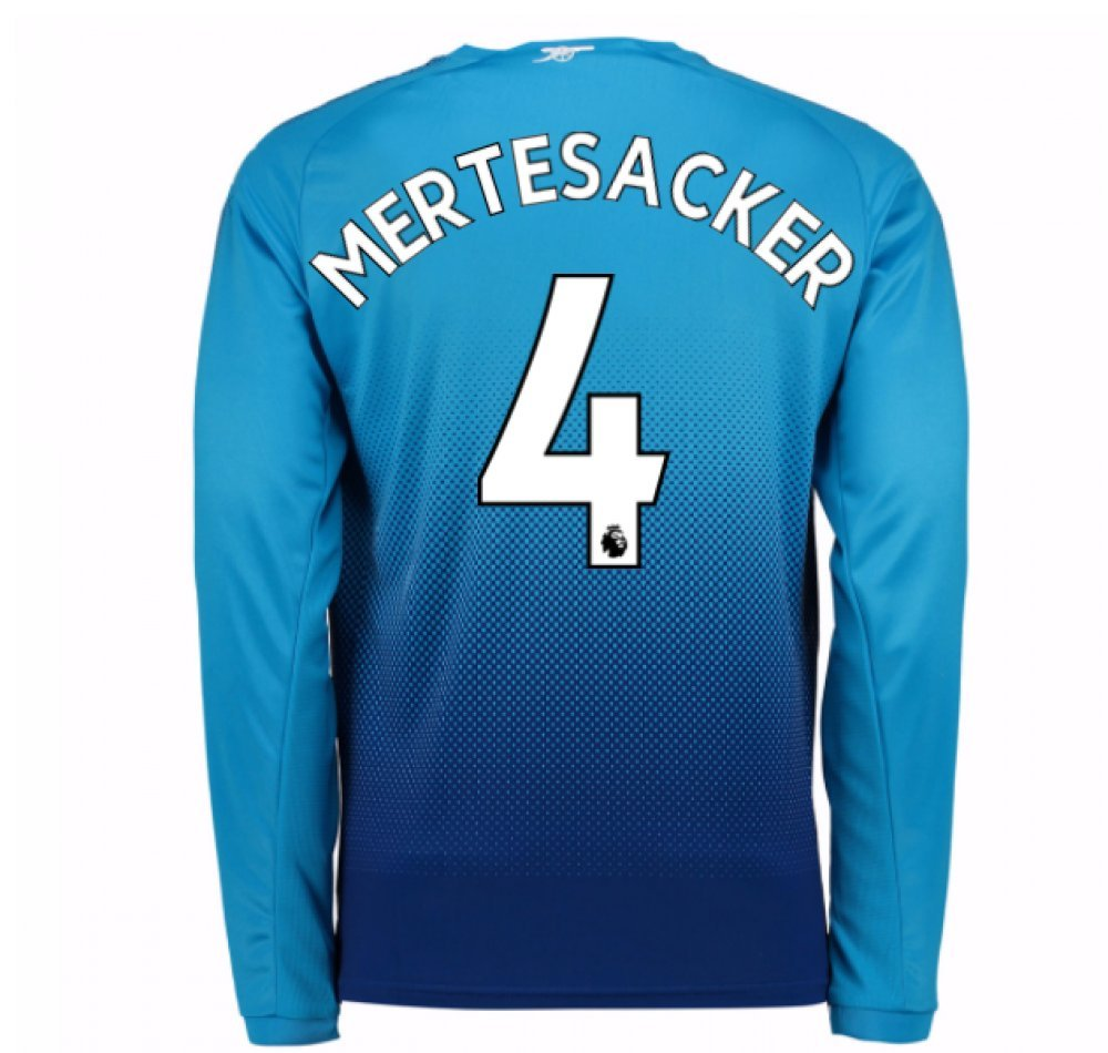 2017-2018 Arsenal Away Long Sleeve Shirt (Mertesacker 4) B077PNTRQ6Navy XXL Adults