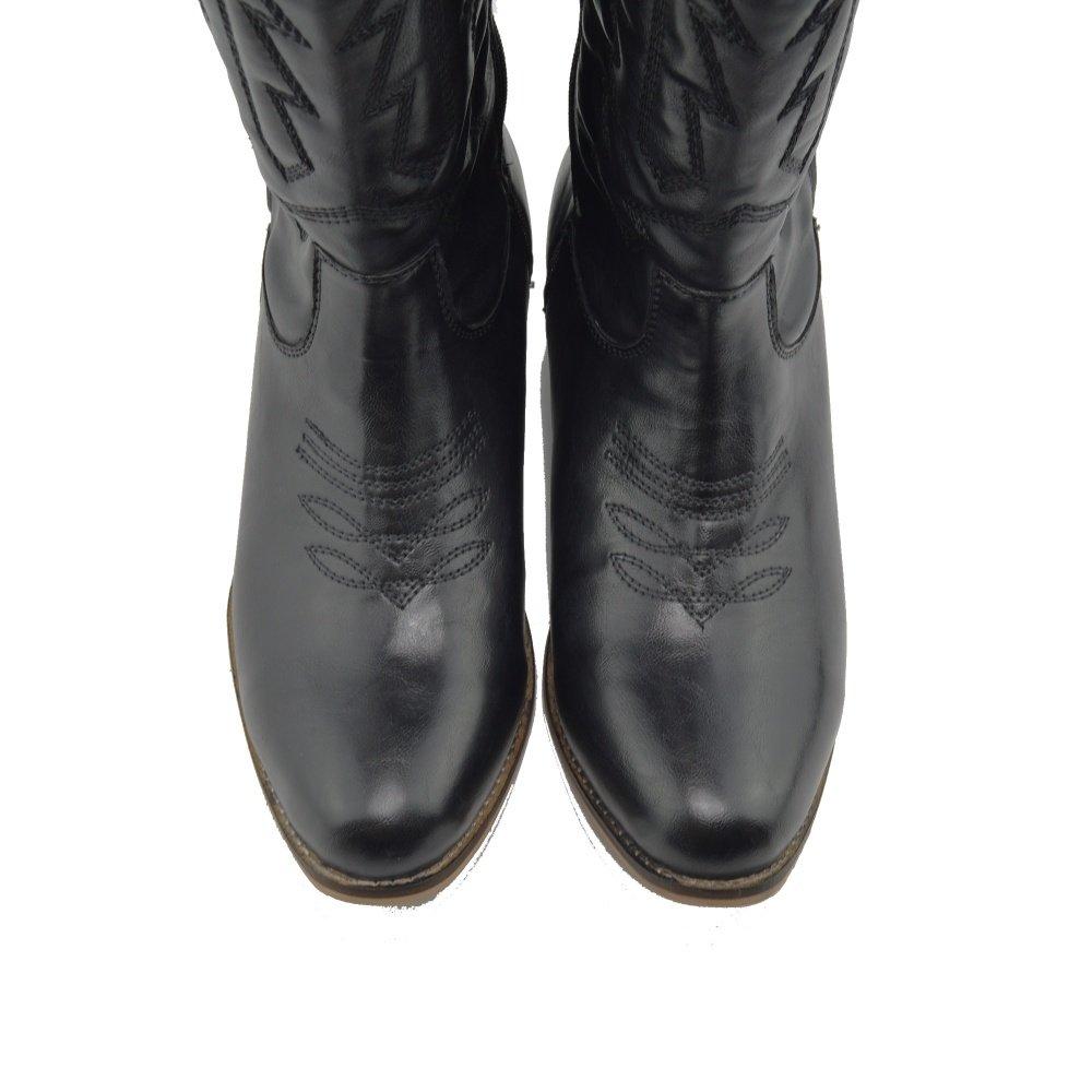 996b0bf12d4881 ... Damen Frauen Mid-Calf-Block-Ferse Reiten Cowboy Biker Boots Zip Ups  Schuhe