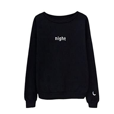 Willie Marlow Letters Day&night Embroidered Sweatshirt Women Long Sleeve Loose Hoodies Sweatshirts Black S