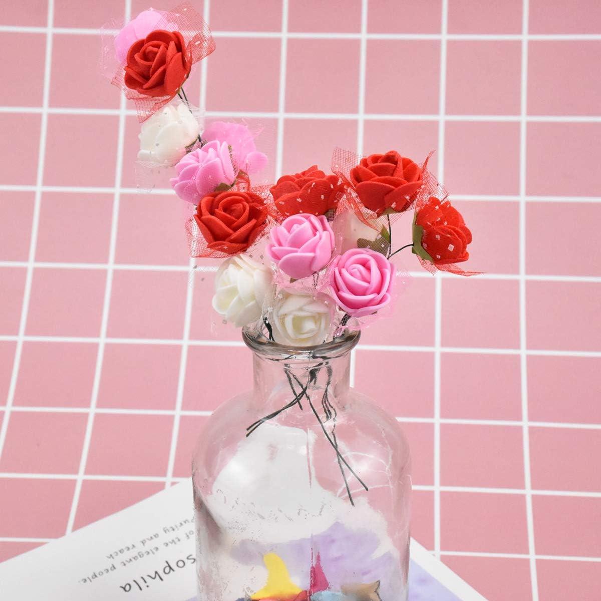 K/ünstliche Foam Blumen mit Stiel 144 St/ücke St/ück Schaumrosen 2cm Foamrosen Schaum Blumenk/öpfe Kunstblume Rosenstrau/ß f/ür Hochzeit DIY Basteln Spielzeuge Kunstblumen Elfenbein