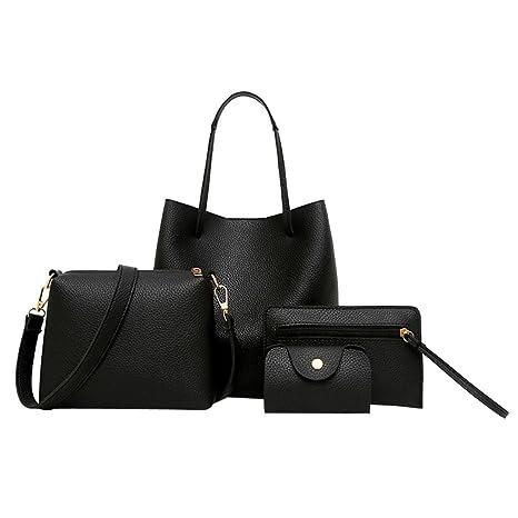 9c5c0dc97f7c Gotd Womens Girls 4 Piece Set Leather Crossbody Shoulder Bag Tassel  Messenger Strap Messenger Handbag Tote on sale Clearance travel kids Coin  Phone ...