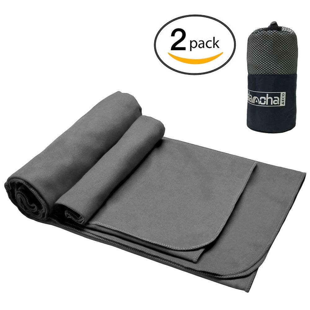 "alamoha 2pack Microfiber Travel Sports Towel. Absorbent-Compact-Lightweight and Fast Drying- Swimming Towel (Available in 51"" x 31.5"", 70.8"" x 35.4"") with Yoga Hand/Face Towel & Free Storage Bag. product image"