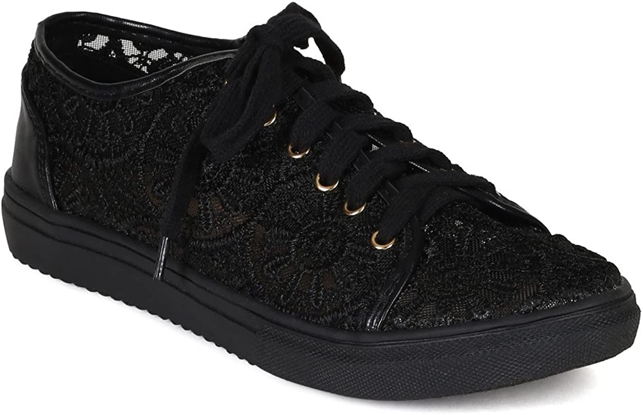 Nature Breeze Lego-01 Women's Lace Round Toe Lace Up Flat Sneakers