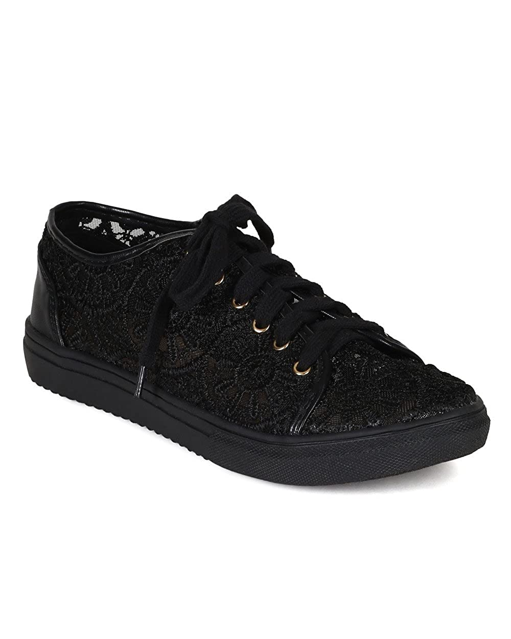 Nature Breeze Lego-01 Womens Lace Round Toe Lace Up Flat Sneakers