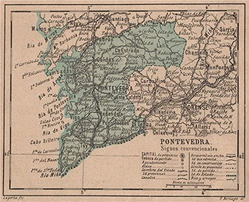Pontevedra Galicia. Mapa Antiguo de la Provincia – 1908 – Old Antiguo Mapa Vintage – Mapas de Impreso de España: Amazon.es: Hogar