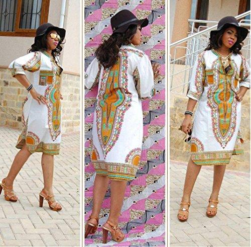 Femmes Anboo Été Casual Col V Profond Robes Traditionnelles De Fête D'impression Africaine