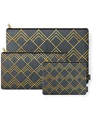 Society6 Diamond Art Deco; - Black & Gold Carry-All Pouch