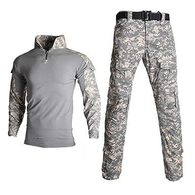 JUNSHIFU Ropa de Uniforme Militar de Camuflaje para Hombre ...