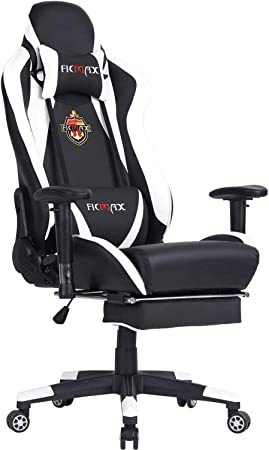 Ficmax Chaise Gaming Ergonomique, Chaise de jeu pour Ordinateur avec Support Lombaire de Massage, E sports Chaise de Style Course, Chaise Gamer en PU