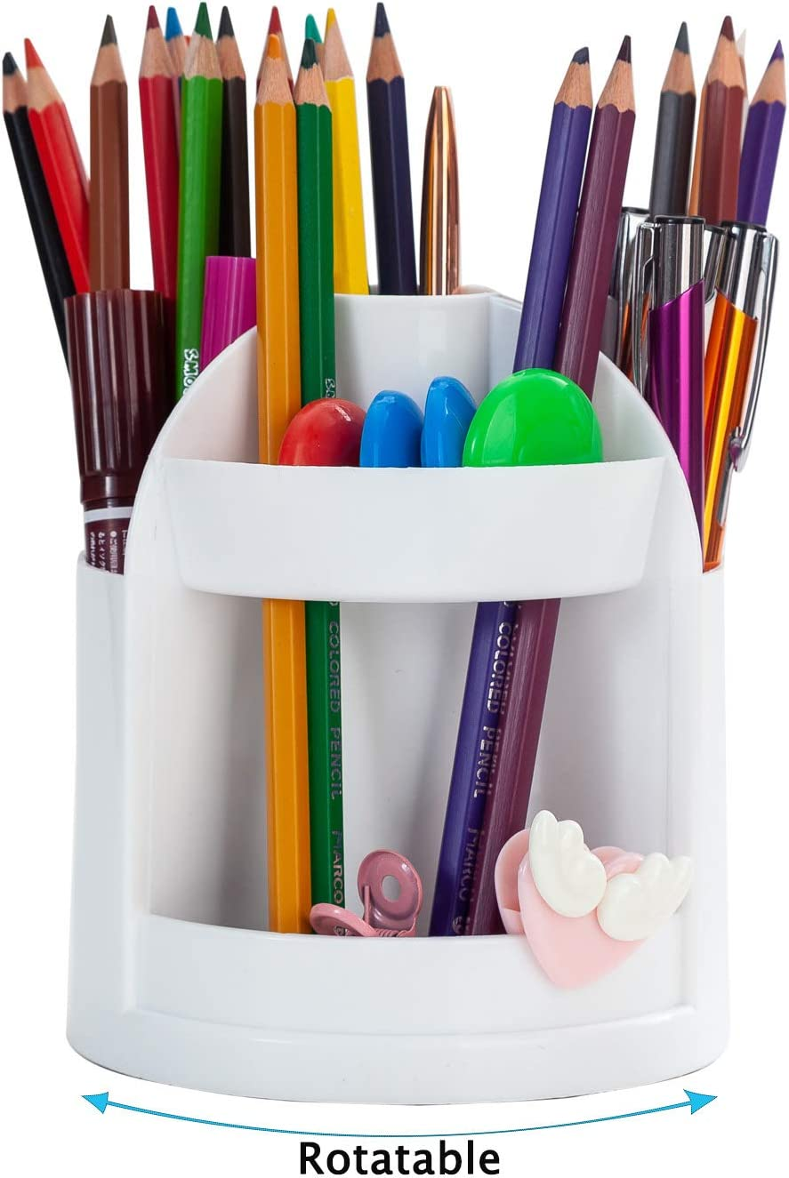 YAOYUE Rotating Desk Organizer with 7 Compartments,Spinning Pencil Holder Pen Caddy,Plastic Office Supplies Storage Collection Sorter for Classroom Office