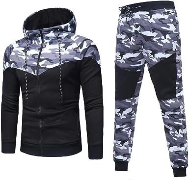 UK Men Tracksuit Hoodies Hooded Camo Jacket Jogging Pants Bottoms GYM Activewear