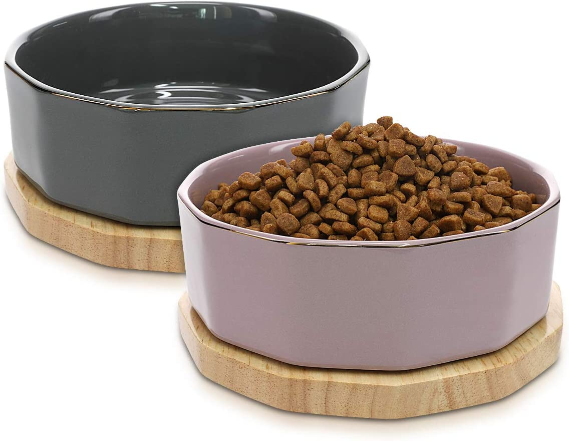 Navaris Ceramic Dog Bowls (Set of 2) - 27oz (800ml) Water or Food Bowl for Pet Dogs and Cats with Non Slip Real Oak Wood Underlay - Stylish Design
