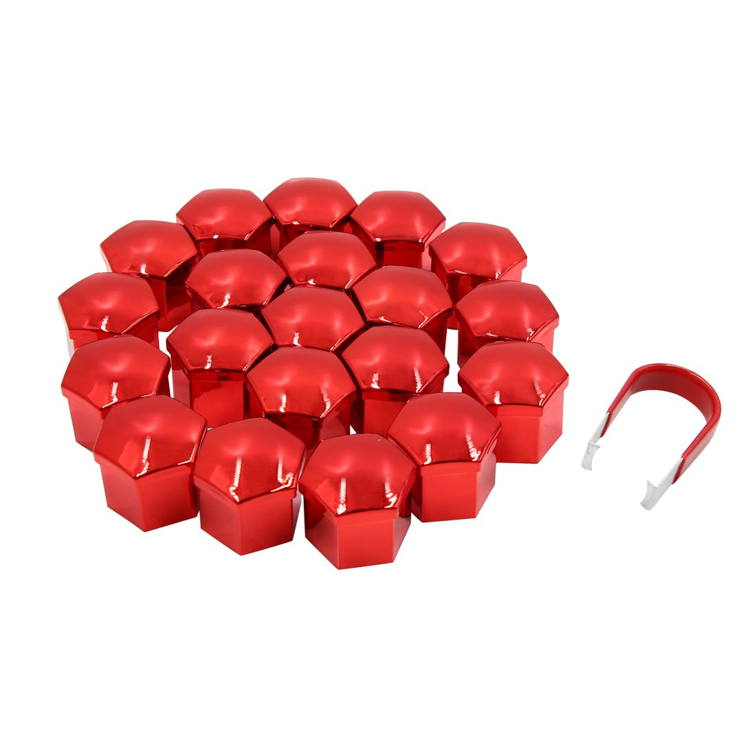 Sourcingmap 20pcs Red 21mm Car Wheel Lug Nut Cap Tyre Hub Screw Bolt Dust Cover Protector a18051500ux0311