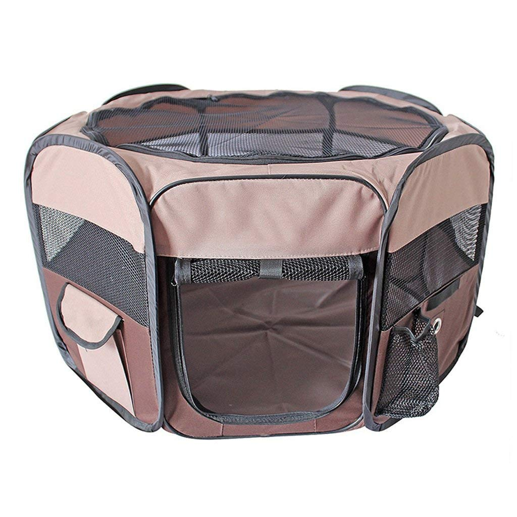 Large CHONGWFS Eight-Sided Fence Kennel Breathable Mesh Cover Indoor Foldable Removable and Washable Portable Dog Tent Creative Travel Pet Fence Dog Cage (Size   Large)