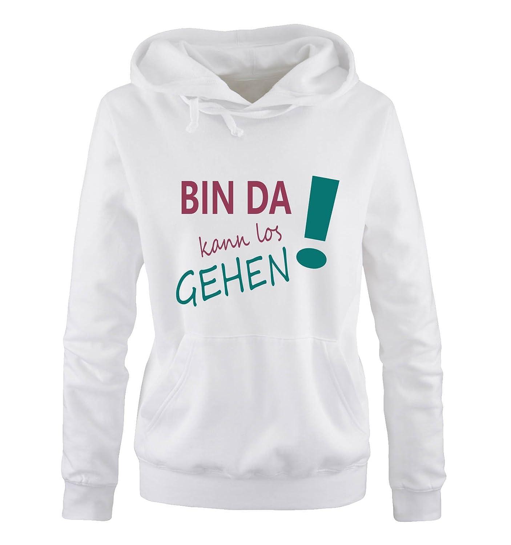 Comedy Shirts Langarm Damen Hoodie Print-Pulli K/ängurutasche Bin da kann los Gehen! Kapuze