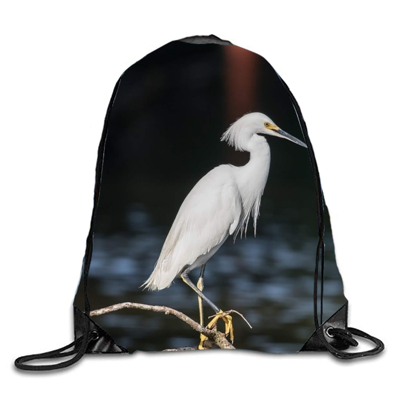 Jewelry-Breasted Heron Bird Cinch Sack Fashion Drawstring Backpack kids String Cinch Tote Bag